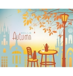 Urban autumn landscape with a street cafe vector image vector image