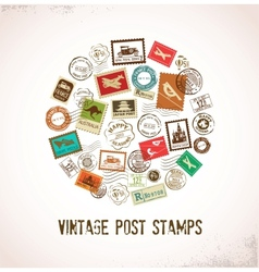 Vintage background with rubber stamps vector image vector image