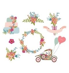 Wedding collection wreath flowersretro car vector image