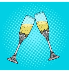 Wedding glasses of champagne pop art style vector image