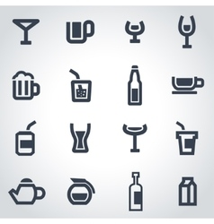 black beverages icon set vector image
