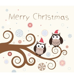Christmas card Birds on a winter branch vector image