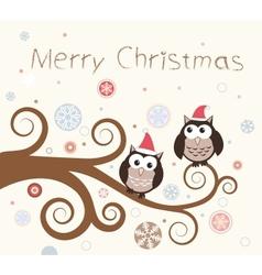 Christmas card Birds on a winter branch vector image