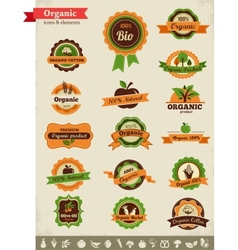 Organic food labels tags and graphic elements vector image vector image