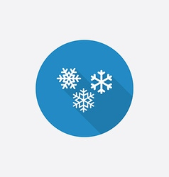 snowflakes Flat Blue Simple Icon with long shadow vector image vector image