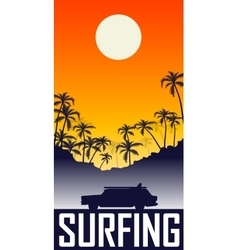 summer sunset with palms vector image