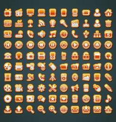 100 orange icons vector