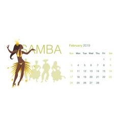 2019 dance calendar february beautiful girl vector image