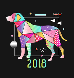 abstract memphis placard dog for 2018 new year vector image