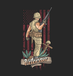 American soldier with weapons welcomes victory vector