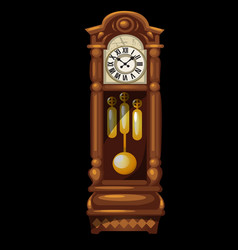 Antique wooden grandfather clock isolated on a vector
