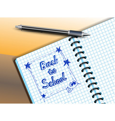 back to school drawing in notebooke vector image