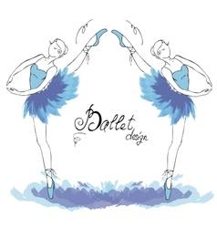 Ballet Dancer drawing in watercolor style vector