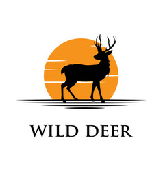 black deer silhouette logo with sunset background vector image