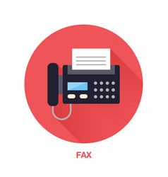 Black fax phone with paper page flat style icon vector