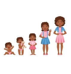 Black Girl Growing Stages With In vector