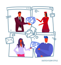 business people man woman boss giving vector image