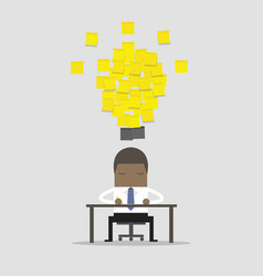businessman working with yellow stick note vector image