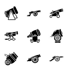 Cannon icons set simple style vector