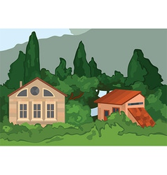 Cartoon village houses with trees vector image
