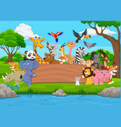 cartoon wild animal with blank board in the jungle vector image