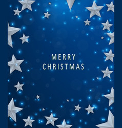 christmas and new years blue background with frame vector image