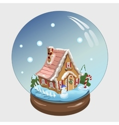 Christmas ball with house and decor inside it vector