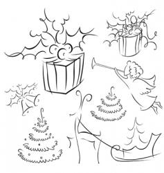 Christmas contour vector image