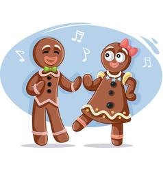 Christmas gingerbread couple dancing vector