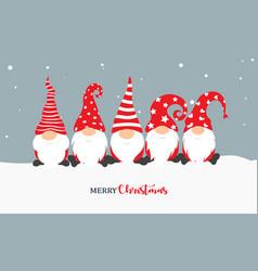 christmas gnome greeting card vector image