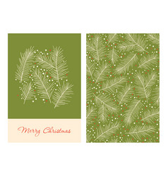 christmas greeting cards with pine branches vector image