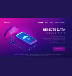 cloud connection isometric 3d landing page vector image