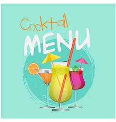 cocktail menu set of cocktail circle blue backgrou vector image
