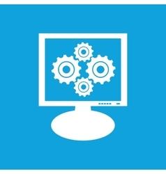 Cogs monitor icon vector