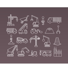 Construction icons Cranes Thin Line vector image