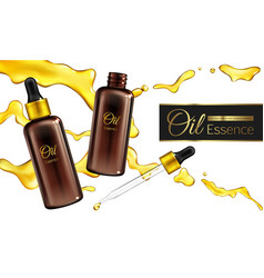Cosmetic essence oil 3d realistic banner vector