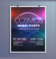 Cosmos music party event flyer template in modern vector