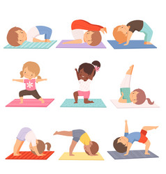 cute kids practicing yoga exercises collection vector image