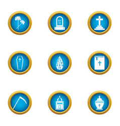 Deadly ritual icons set flat style vector