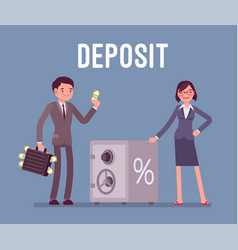 Deposit man and woman money investors vector