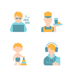 Different ages man flat color icon set vector
