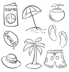 doodle of object summer hand draw vector image