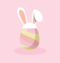 easter egg with white bunny ear band icon vector image