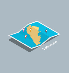 Explore lebanon maps with isometric style and pin vector