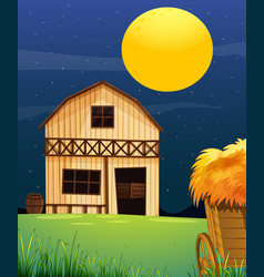 farm scene with barn and straw at night vector image
