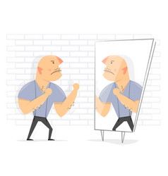 fight with yourself man in front of a mirror vector image
