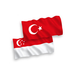 Flags turkey and singapore on a white vector