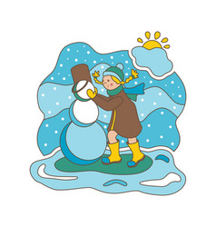 flat girl and snowman vector image