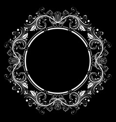 Floral filigree frame decorative round design vector