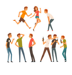 friends spending good time together set men and vector image